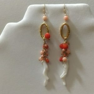 Coral 14k gold earrings